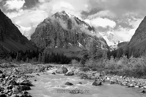 Черно-белое фото Свежее утро ущелья Актру