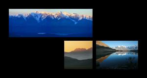Асимметричная композиция - панорама, альбомное фото и квадрат