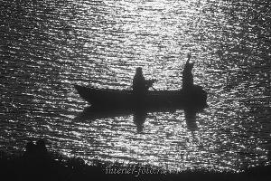 Черно белое фото Рыбаки