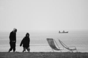 Черно-белое фото Телецкое озеро