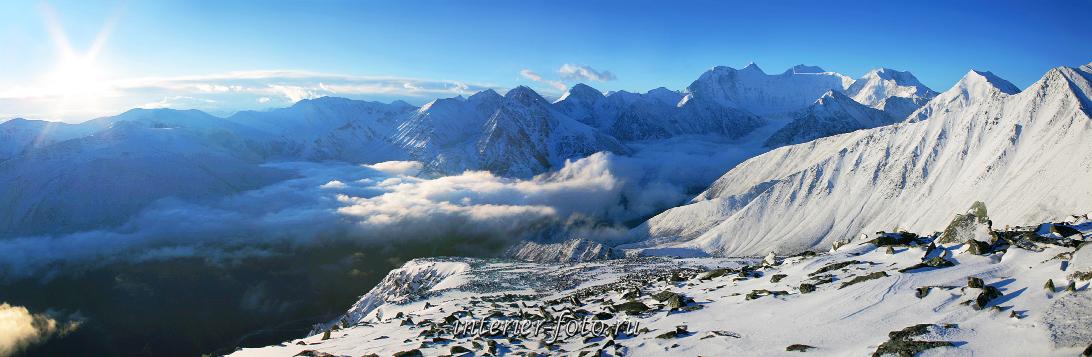 Восход солнца над Белухой и Катунским хребтом. Алтай (6103)