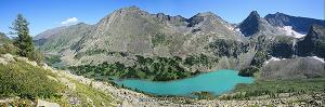 Панорама Большого Крепкого озера. Катунский хребет. Алтай (6144)
