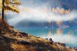 Утренний туман над Шавлинским озером