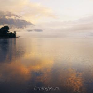 Квадратные фотографии Туманное утро на Телецком озере