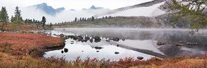 Картинки для стен Туманное утро на озере Круглом в Кузнецком Алатау