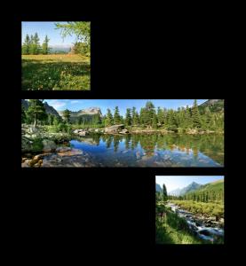 Асимметричная композиция - панорама и 2 квадрата