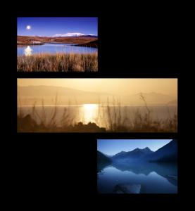 Асимметричная композиция - панорама и 2 альбомных фото