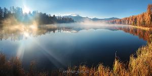 Пейзаж Восход на озере Киделю