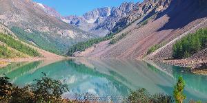 Красивая панорама горного озера