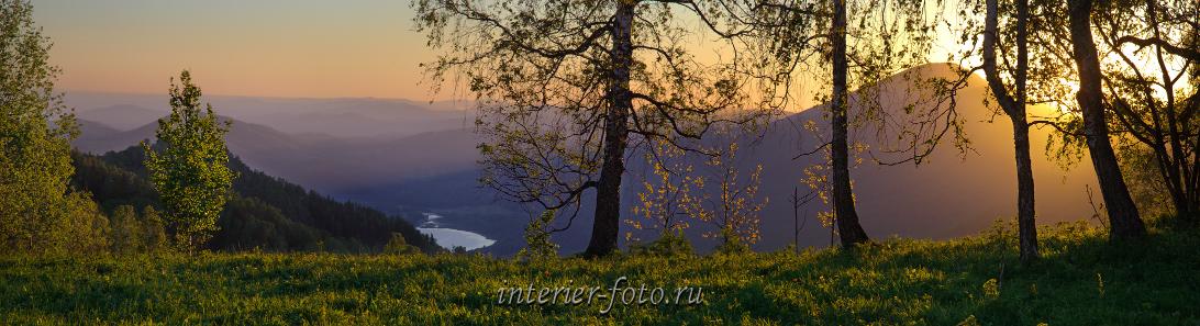 Утренний пейзаж Рассвет в горах